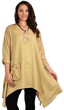 2c6328af18659 Dare2bStylish Women Plus Size Asymmetrical Fishtail Swing Dress Tunic Top