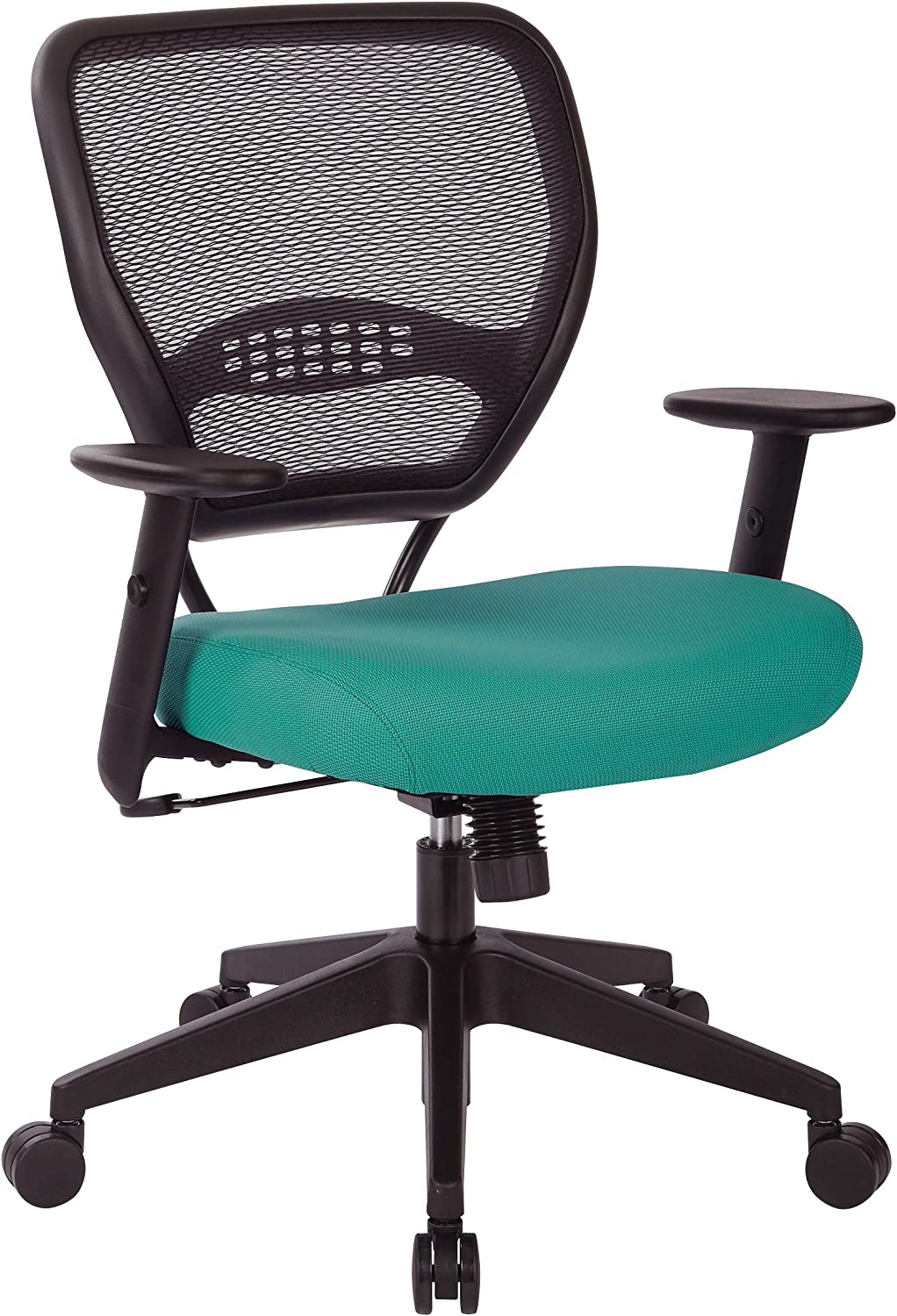 Office Star 55 Series Professional Dark Air Grid Back Office Desk Chair with Built-in Lumbar Support, Tilt Control, Adjustable Height and Arms, Jade Fabric