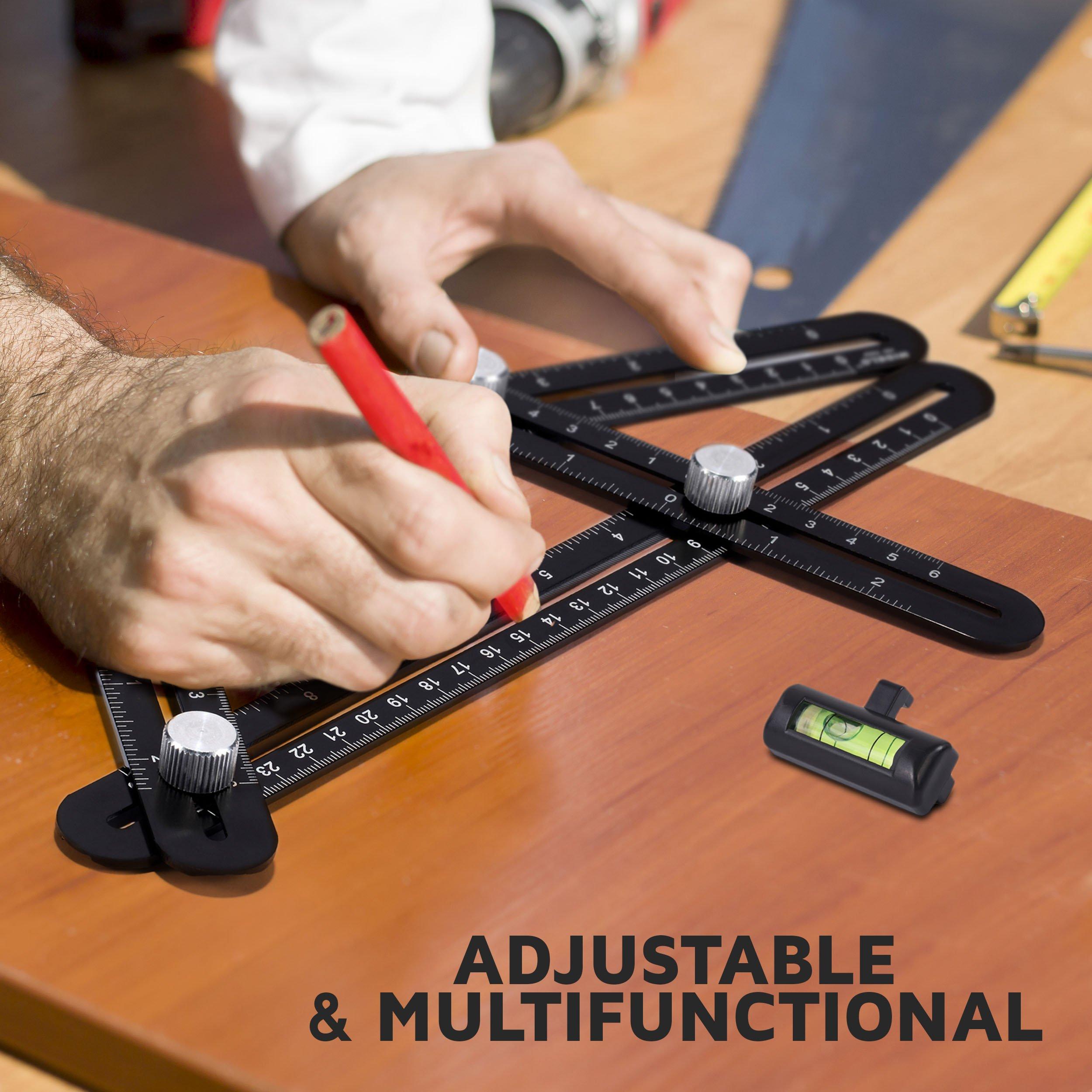AngleBuddy by Midelo | Aluminum Metal Angleizer Template Tool | Multi Angle Measuring Ruler Angularizer | Ultimate Irregular Shape Layout Copy Anglulizer | BONUS 6-in-1 Multi Tool & Bubble Level by Midelo (Image #6)