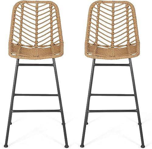 Jessie Outdoor Wicker Barstools Set of 2