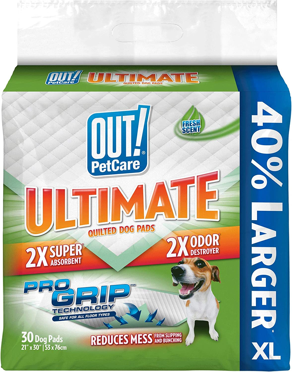 OUT! Ultimate Pro-Grip XL Dog Pads   Absorbent Pet Training and Puppy Pads   Grip Technology Prevents Slipping and Bunching   30 Pads   21 x 30 Inches