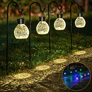 4 Pack Hanging Solar Lights Set with Shepherd Hooks, Outdoor Color Changing Solar Powered Waterproof Landscape Lanterns with Crackle Ball Design Pathway Decoration