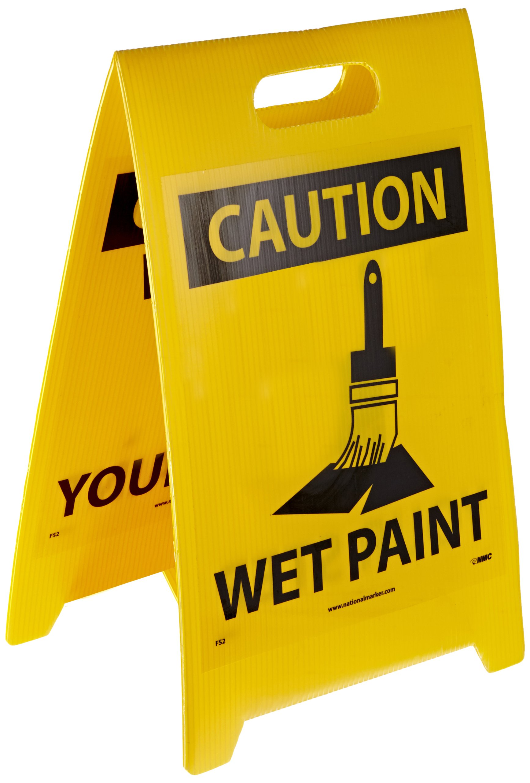 NMC FS2 Double Sided Floor Sign, Legend ''CAUTION - WATCH YOUR STEP WET PAINT'' with Graphic, 12'' Length x 20'' Height, Coroplast, Black on Yellow