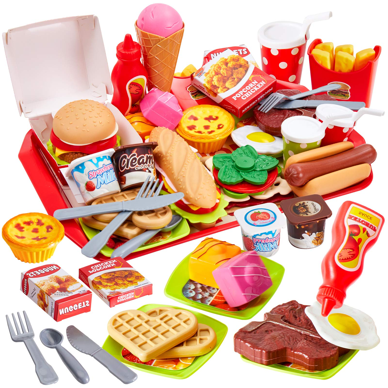 Buyger 63 PCS Fast Food Toy Play Food for Children Role Play Toy Kitchen Accessories Burger Set for 3 Year Old Girl Boy Kid Gift