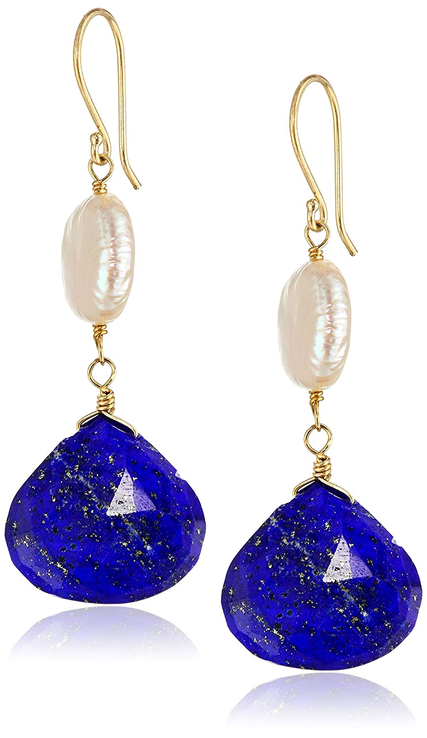 Amazon: 14k Lapis Lazuli And White Freshwater Cultured Pearl Drop  Earrings: Jewelry