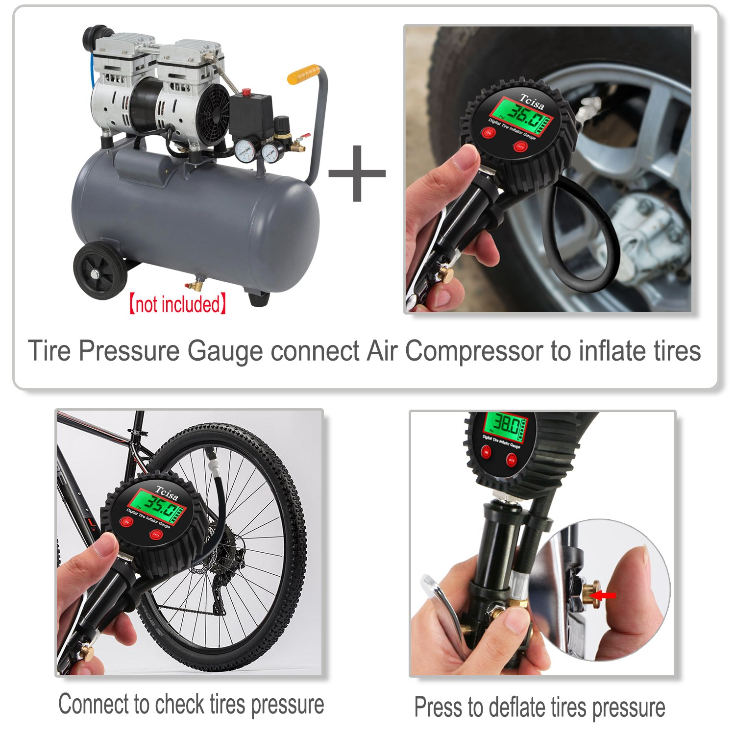 Tcisa Tire Inflator with Pressure Gauge - Digital Heavy Duty 200 PSI Air Pressure Gauge with Leakproof Air Chuck Valve Extender Rubber Air Hose Quick-Connect Fitting by Tcisa (Image #6)