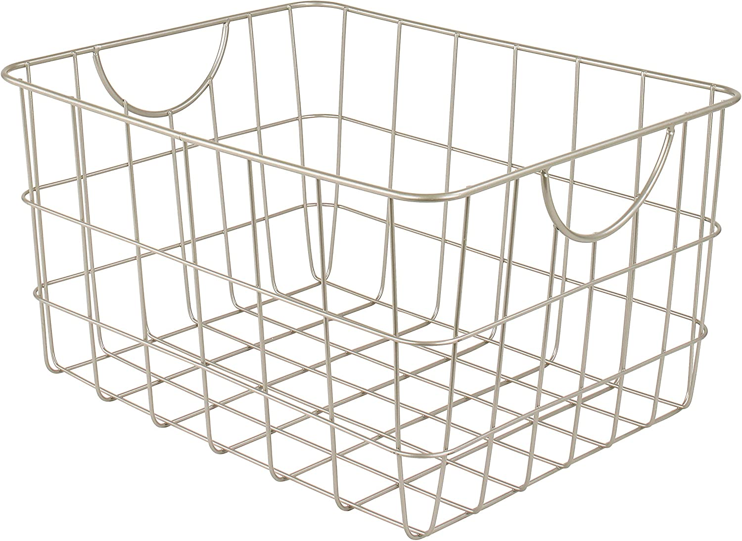 Spectrum Diversified Utility Basket, Sturdy Steel Wire Storage Solution, Curved Easy Grab Handles Decorative Organization for Toys, Pet Supplies, Clothing, Pantry & More, Satin Nickel