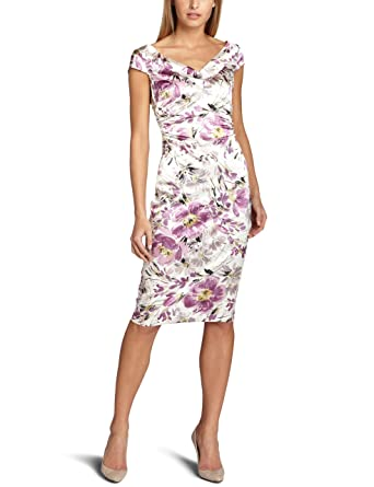 Maggy London Womens Printed Watercolor Stretch Satin Dress Ivory