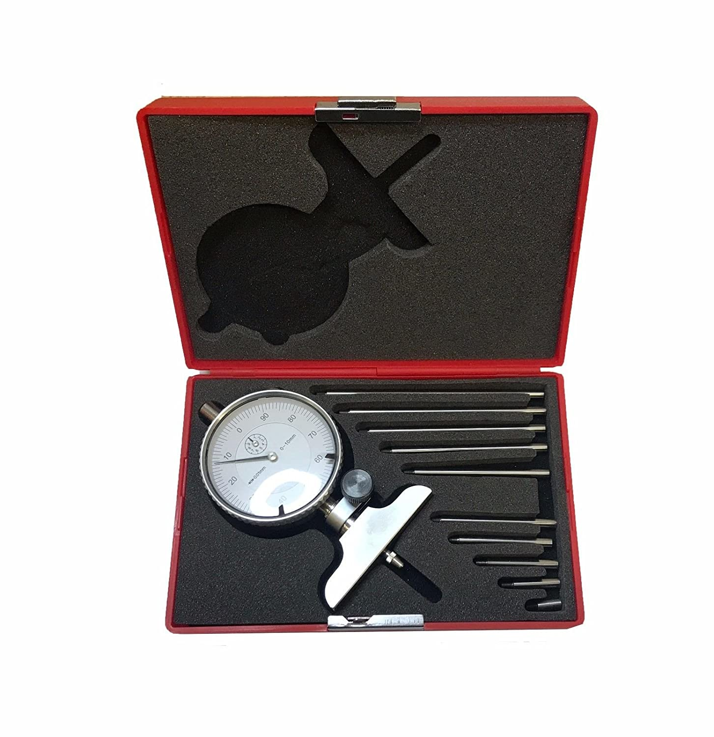 METRIC DEPTH GAUGE WITH DIAL RANGE 0-100MM WITH EXTENSIONS HBM