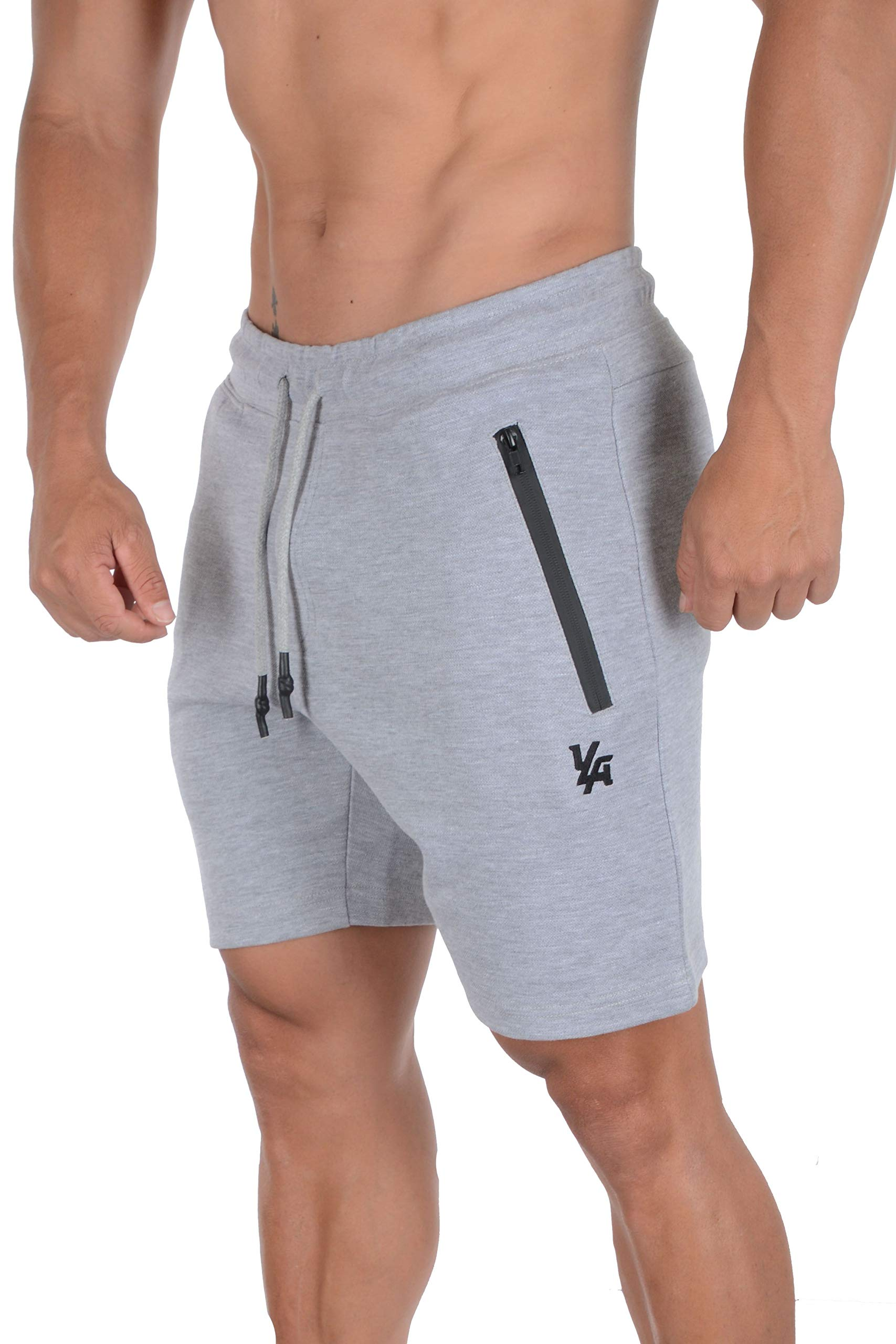 YoungLA Mens Shorts with Zipper Pockets | Casual Gym Training 108 | Grey XLarge by YoungLA