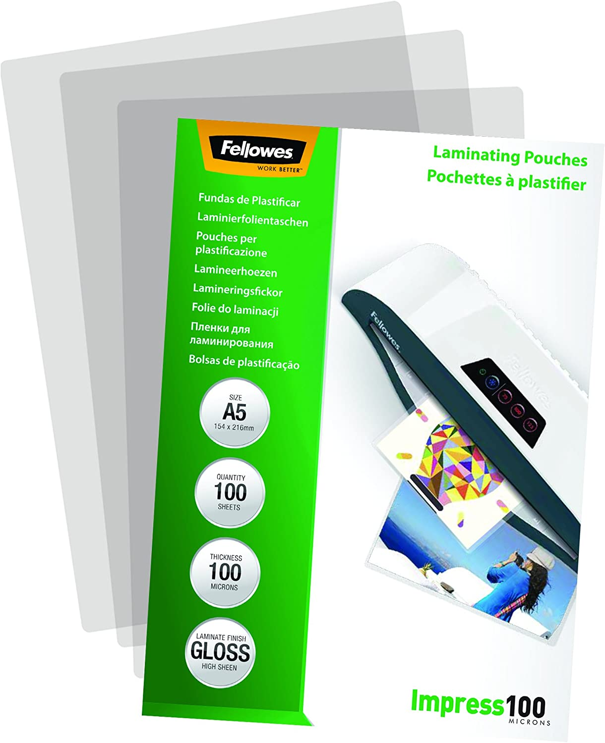 Fellowes 5351002 - Pack de 100 fundas para plastificar, A5 ...