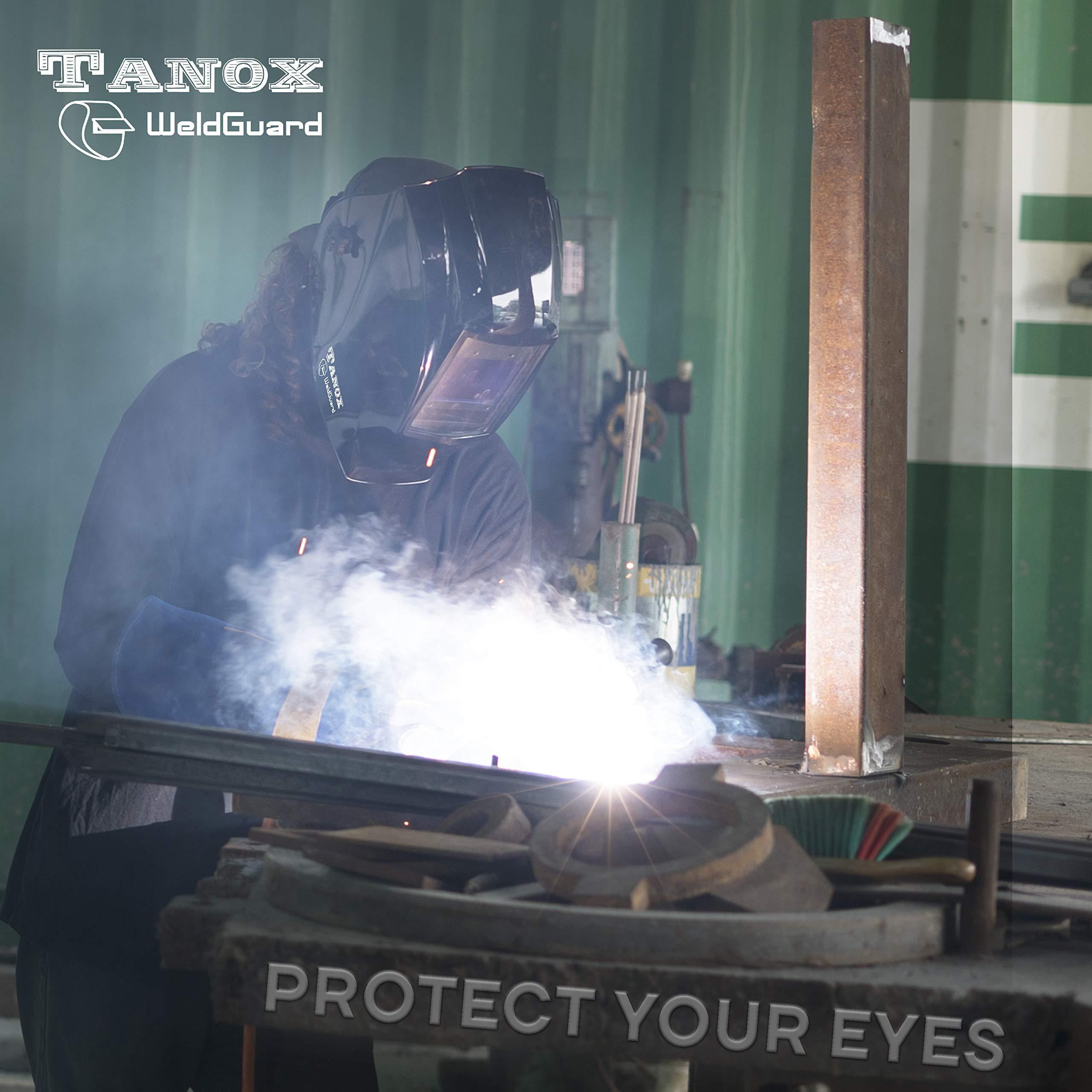 Digital Display auto Darkening Solar Powered Welding Helmet ADF-210S, Solar Shade Lens, Tig Mig MMA, Adjustable Range 4/9-1316 Bonus 16'' Fire Retardant Welding Gloves, Carrying Bag and spare lens by Tanox (Image #2)
