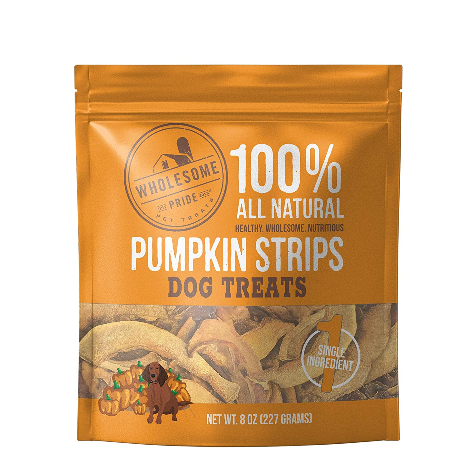 Wholesome Pride Pumpkin Strips - All Natural Healthy Dog Treats - Vegan, Gluten and Grain-Free Dog Snacks