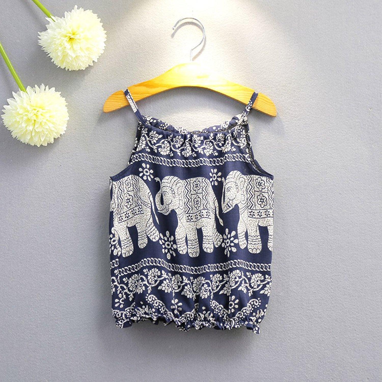 c8a6b6a66 2Pcs Set Kids Baby Girls Elephant Jumpsuit Romper