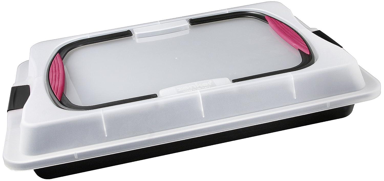 Zenker Blechkuchen-Container to go, Backblech mit Transport-Abdeckung für unterwegs, Backform antihaft mit Deckel und Softgriffen (Kuchenform: ca.425x295x75 mm), Menge: 1 Stück Menge: 1 Stück 7903