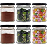 Farkraft 200 ML Glass Jar Round Shape,with Black Metal Color Cap Rust Proof Air Tight, (Set of 6 Pcs)