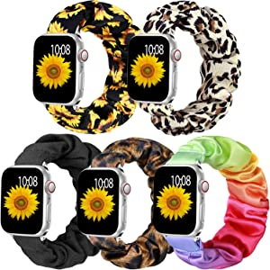 Muranne Scrunchie Elastic Band Compatible for Apple Watch 38mm 40mm for Women Girls Soft Cloth Rubber Stretchy Band Strap Bracelet for iWatch SE & Series 6 5 4 3 2 1 38mm/40mm Small 5 Pack