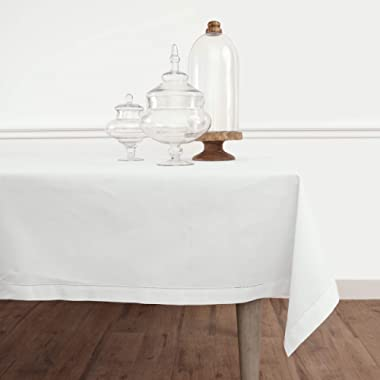 Solino Home Hemstitch Cotton Linen Tablecloth – 58 x 104 Inch, Natural Fabric Machine Washable - White Tablecloth for Indoor and Outdoor use