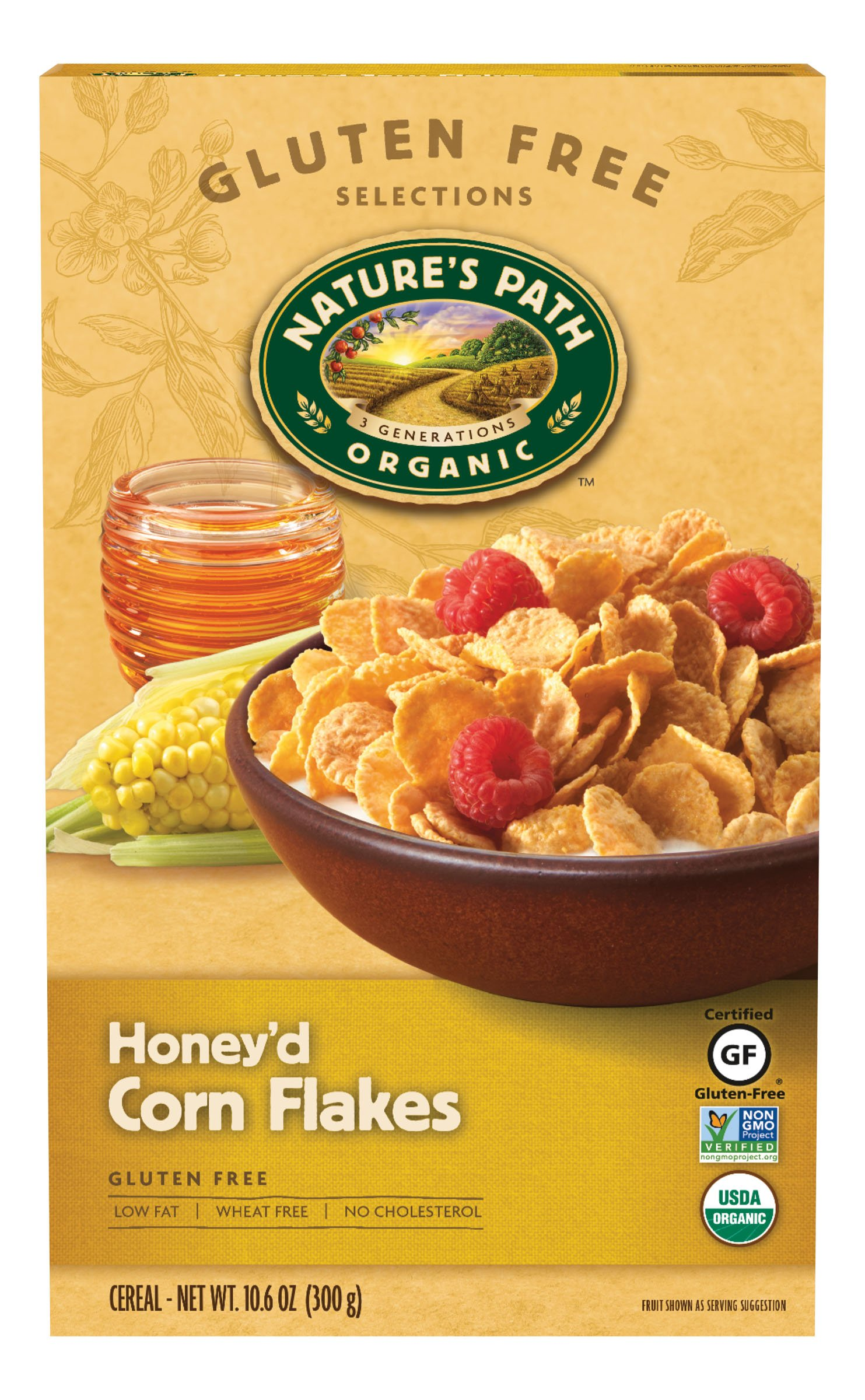Nature's Path Organic Gluten-Free Cereal, Honey'd Corn Flakes, 10.6 Ounce Box (Pack of 6)