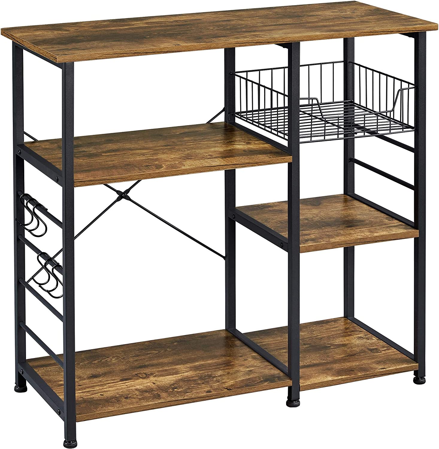 Yaheetech Baker S Rack Industrial Kitchen Island Microwave Storage Rack With Metal Mesh Basket Shelves And 6 Hooks 90x39x84cm Standing Coffee Bar Table Metal Frame Amazon Co Uk Kitchen Home