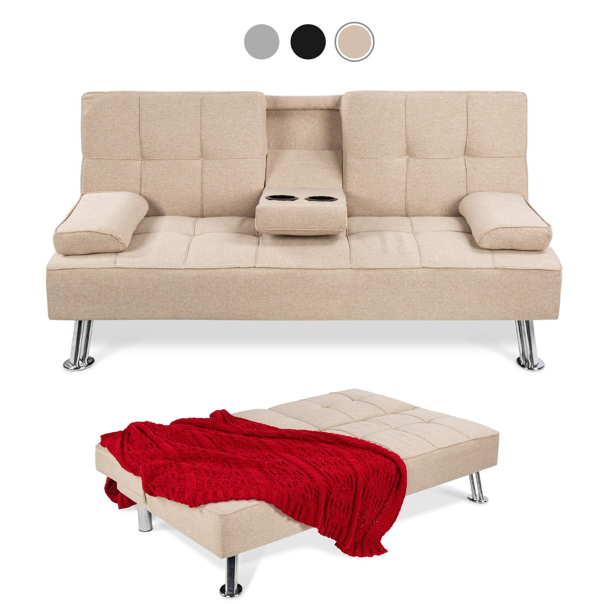 Best Choice Products Linen Upholstered Modern Convertible Folding Futon Sofa Bed for Compact Living Space, Apartment, Dorm, Bonus Room w/Removable Armrests, Metal Legs, 2 Cupholders - Beige