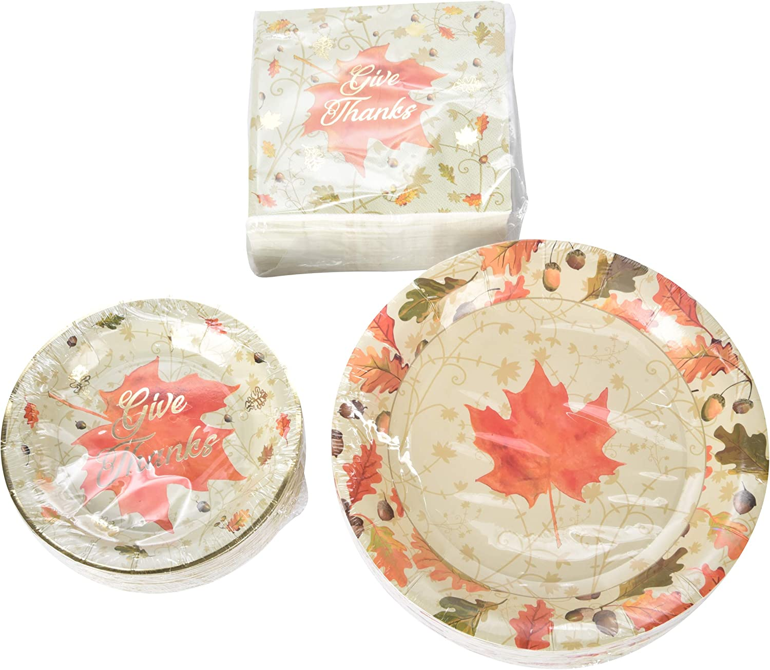 Autumn Leaves Themed Party Set - 36 16 Dinner Napkins Oversize Dinner Plates and