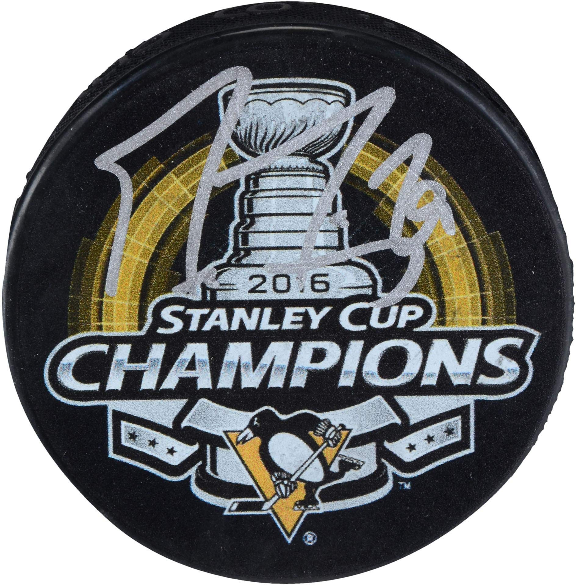 Marc Andre Fleury Pittsburgh Penguins Autographed 2016 Stanley Cup Champions Logo Hockey Puck Fanatics Authentic Certified
