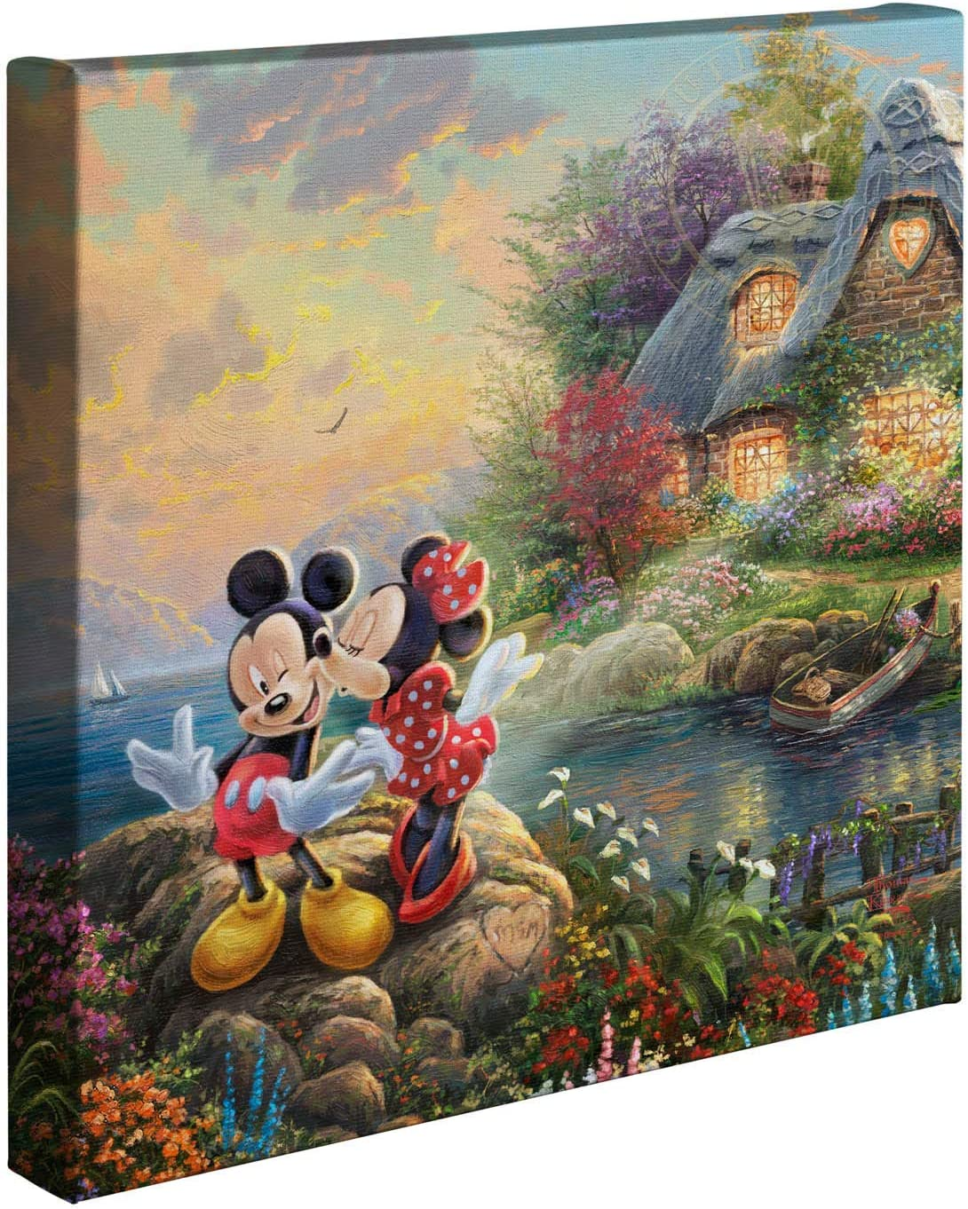 Thomas Kinkade Studios Disney's Mickey and Minnie Sweetheart Cove 14 x 14 Gallery Wrapped Canvas