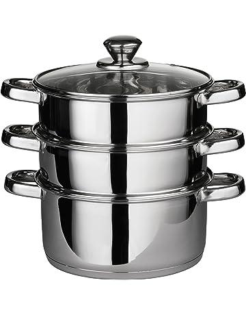 Premier Housewares - Set de cocción al vapor (tapa de cristal, 22 x 25