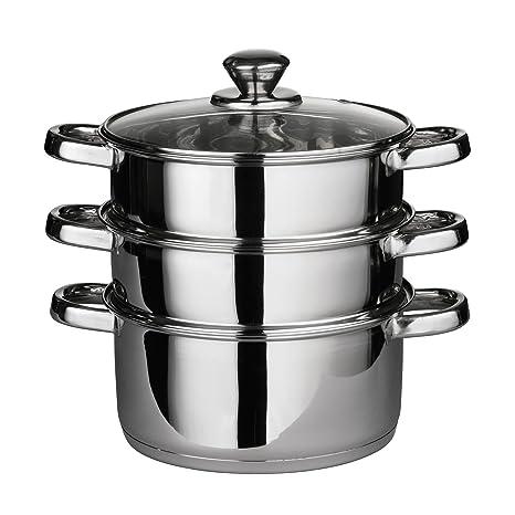Premier Housewares - Set de cocción al Vapor (Tapa de Cristal, 22 x 25 cm)