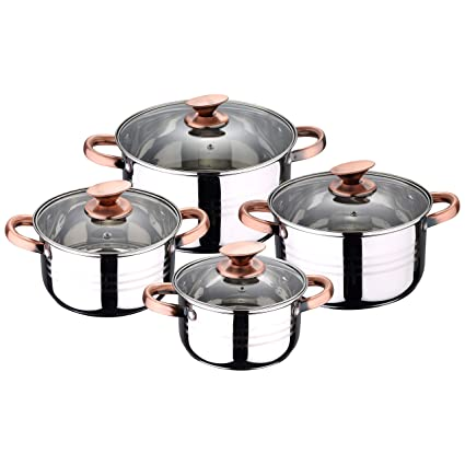 San Ignacio Premium Set de Bateria 8 Piezas + 4 Cuchillos 3 Utensilios de Cocina, Cobre: Amazon.es: Hogar