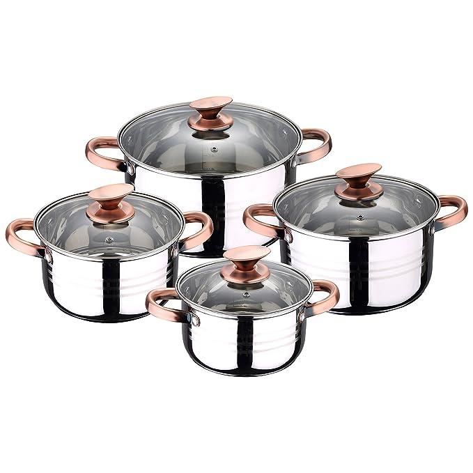 San Ignacio Premium Set de Bateria 8 Piezas + 4 recipientes herméticos + 3 Utensilios de Cocina, Cobre: Amazon.es: Hogar