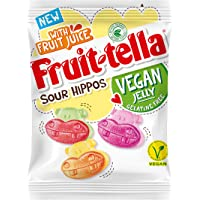 Fruittella Sour Hippos - Vegan apple, strawberry and lemon flavour jellies - Made with real fruit juice - Gelatine free - Great for sharing, 150g