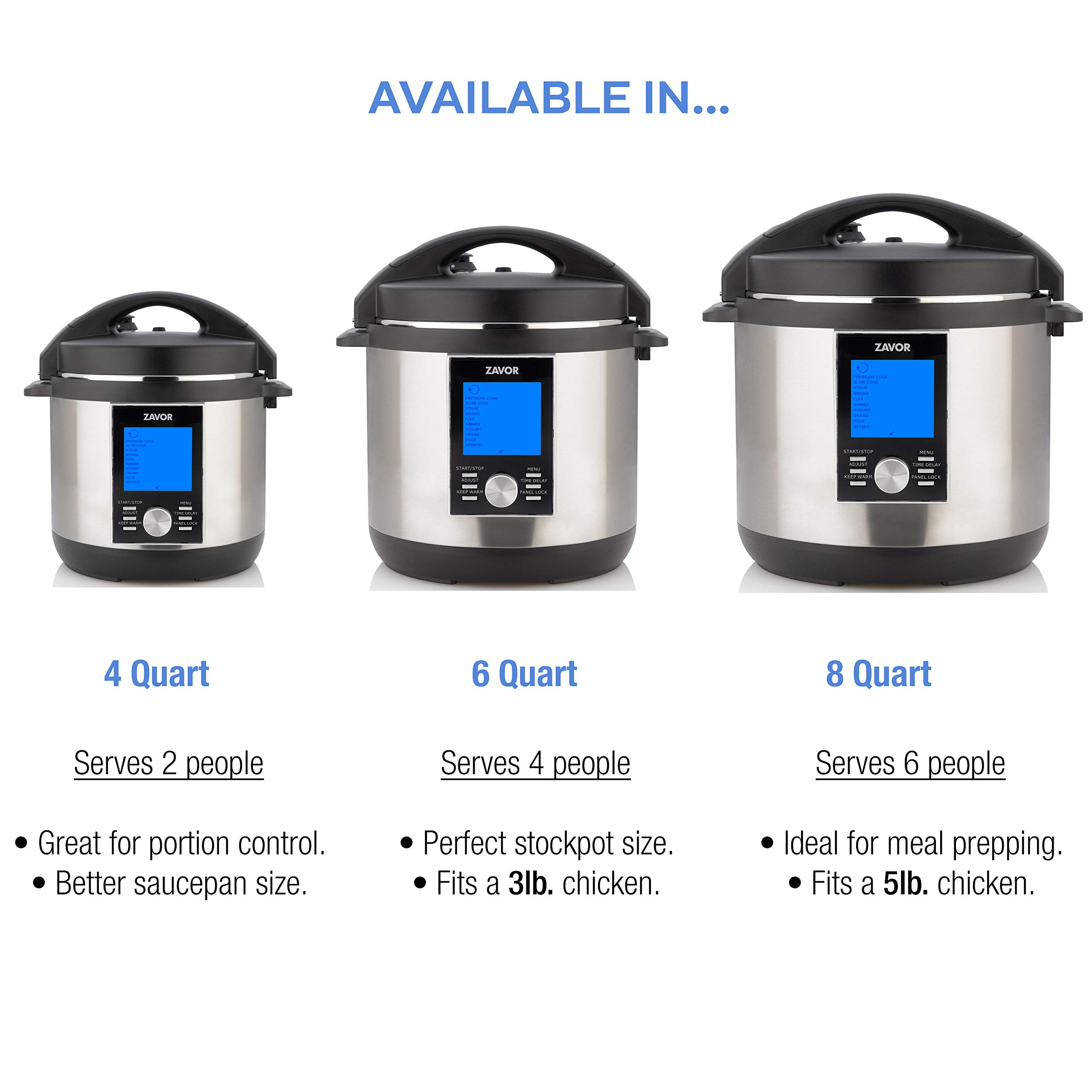 Zavor LUX LCD 8 Quart Programmable Electric Multi-Cooker: Pressure Cooker, Slow Cooker, Rice Cooker, Yogurt Maker, Steamer and more - Stainless Steel (ZSELL03) by ZAVOR (Image #6)