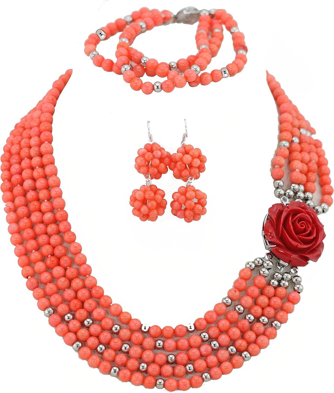 AfricanBeads 5-Row naranja mujer fiesta joyas para disfraz de ...