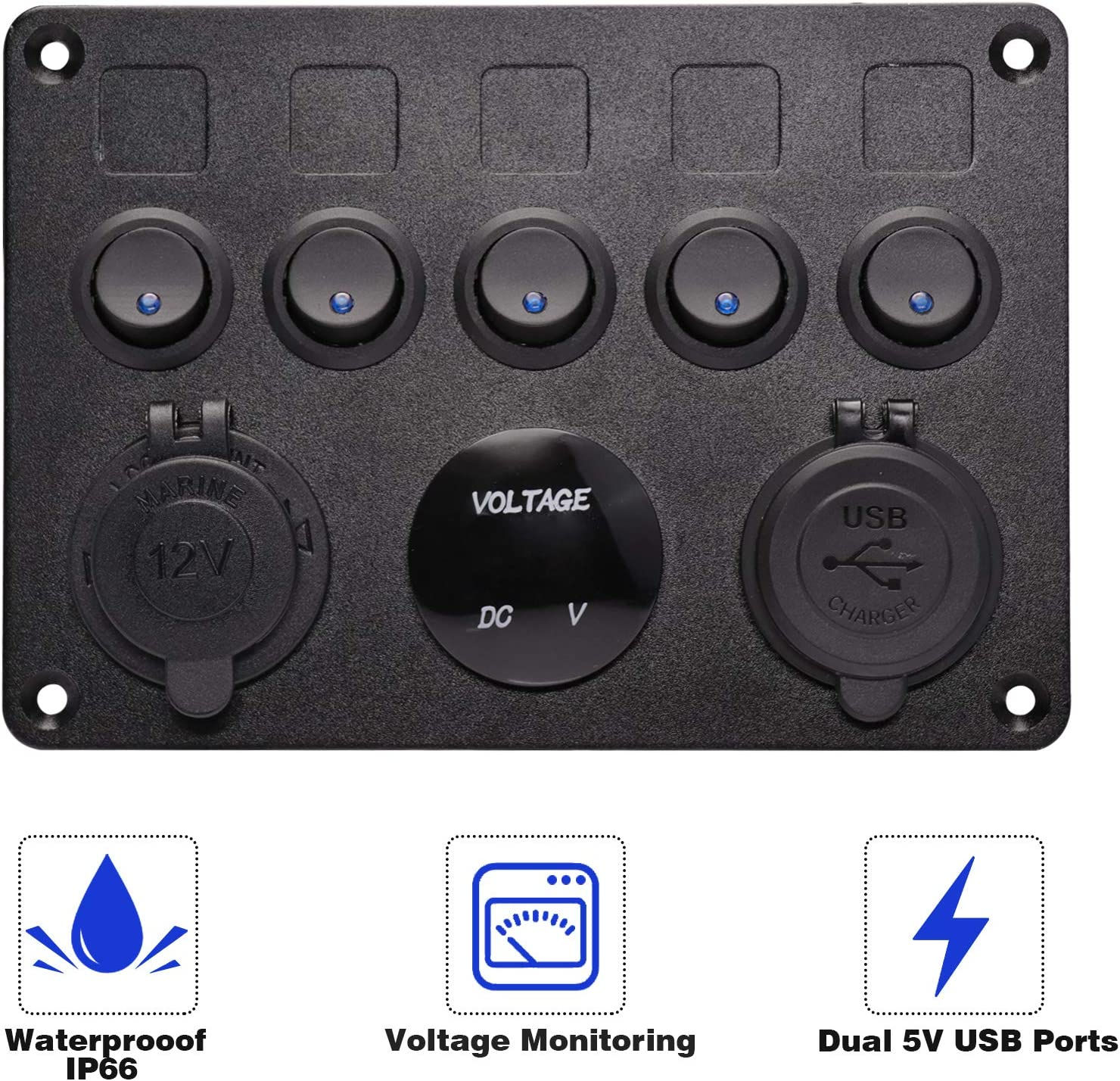 12V Waterproof Led Switch Panel for RV Car Truck Marine Boat Elitezip Toggle Switch Control Panel Voltmeter Dual USB Combination Panel with Fuse Box Protection