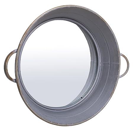 Farm Cottage Whitewash Style Drum Tub Mirror – 20 dia