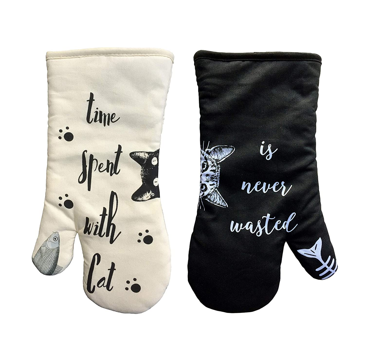 AIYUE Oven Mitts, Thick Cotton Kitchen Oven mitt | Funny Cat Oven Gloves with Long Sleeves | Heat Resistant to 482 °F | Machine Washable | Suitable for Cooking Baking BBQ