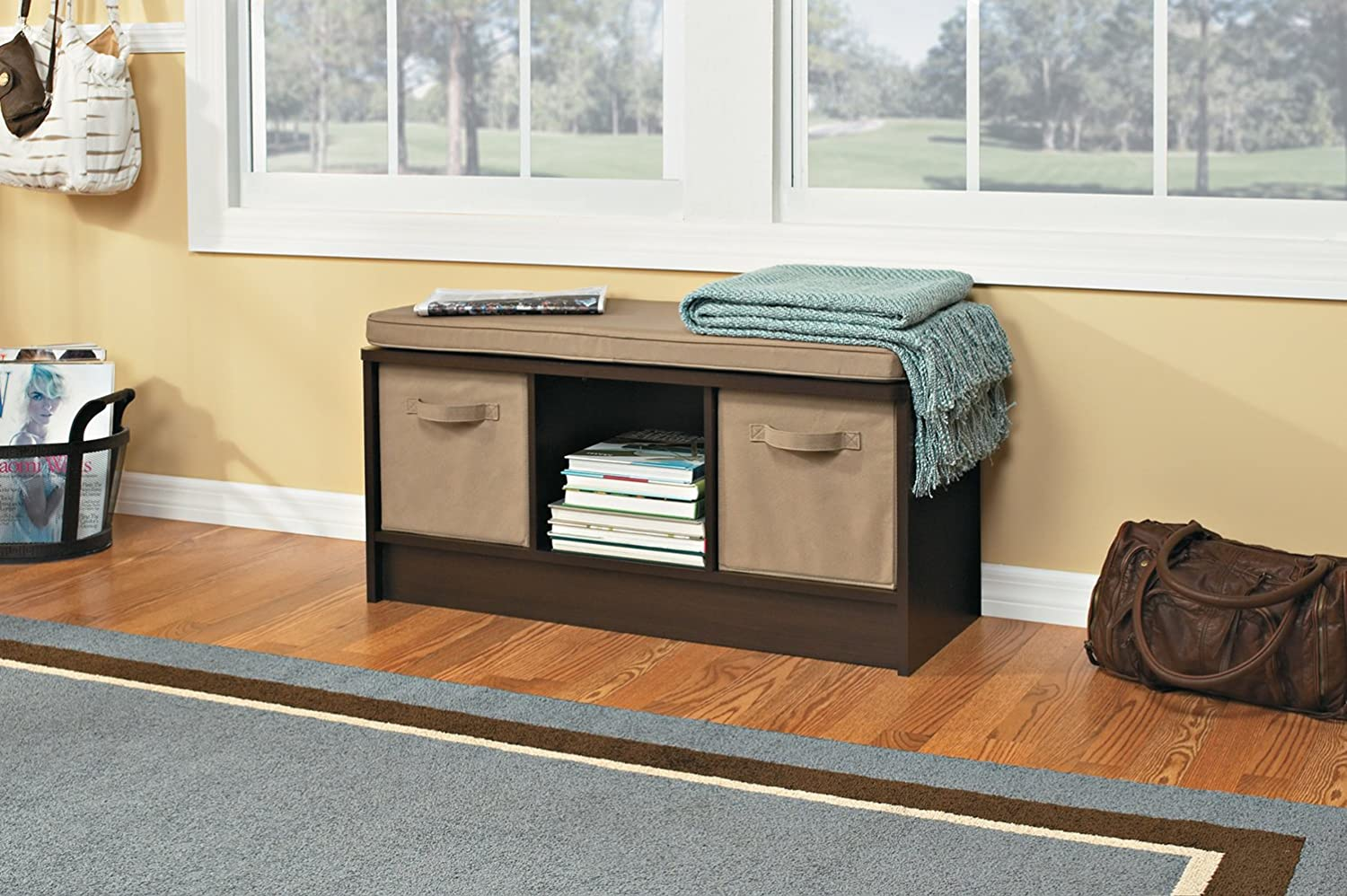 Amazon.com: ClosetMaid 1570 Cubeicals 3 Cube Storage Bench, Espresso: Home  U0026 Kitchen