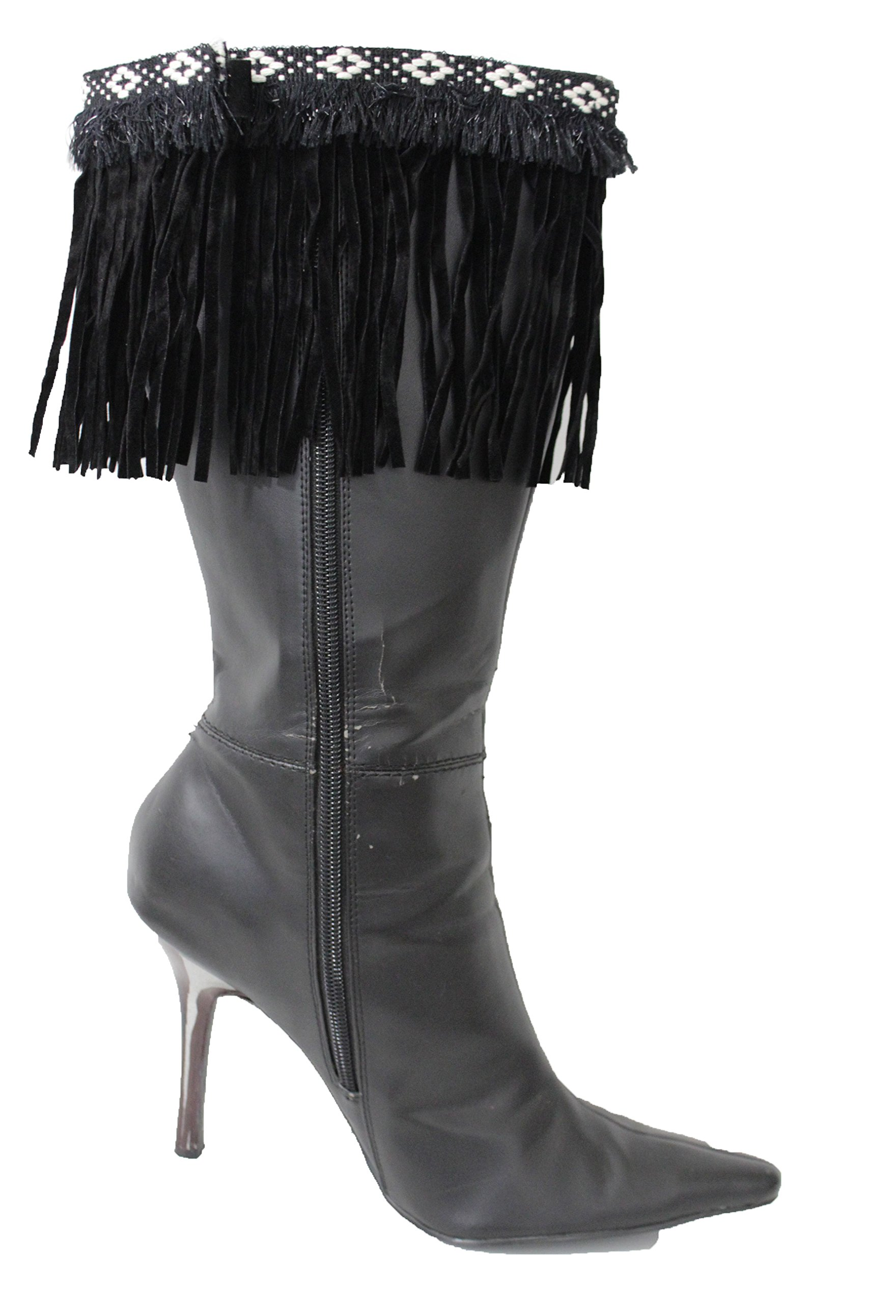 TFJ Women Western Fashion Boot Toppers Cover Faux Suede Leather Fringes Black
