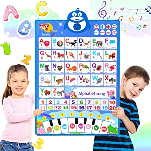 ABC Learning for Toddlers, Electronic Alphabet Poster ABC+123+Music+Piano Keyboard, Speech Therapy Toys Interactive Alphabet Wall Chart, Preschool Educational Poster for 1-4 Year Olds