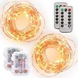 [2 Pack] Tenergy Battery Operated LED String Lights, Includes 6 AA Batteries, 16.5ft Light String 50 Dimmable LEDs, Remote Co