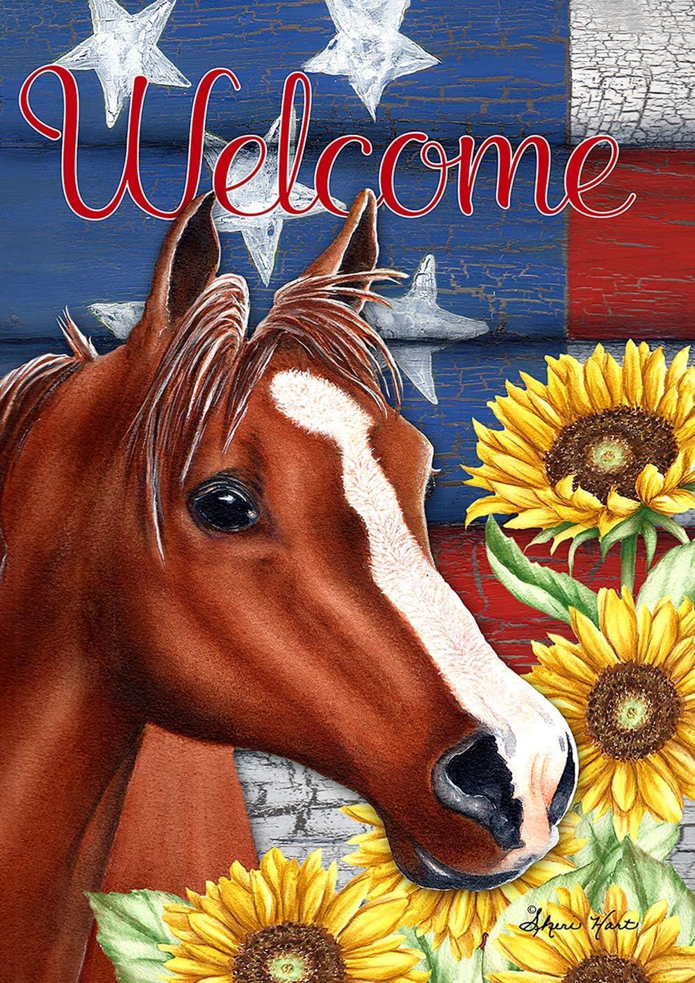 """Toland Home Garden 1112217 Sunflower Horse 12.5 x 18 Inch Decorative, Garden Flag (12.5"""" x 18"""")"""