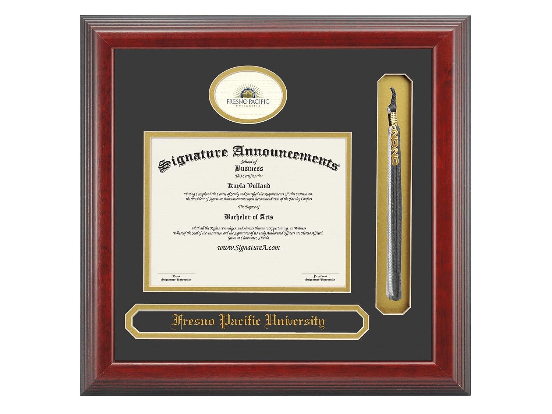 Name /& Tassel Graduation Diploma Frame 16 x 16 Cherry Professional//Doctor Sculpted Foil Seal Signature Announcements Fresno-Pacific-University Undergraduate