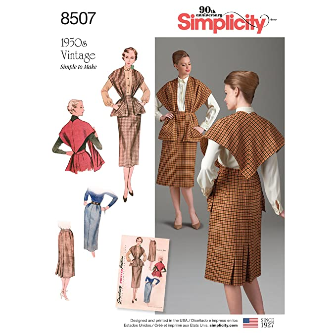 1950s Sewing Patterns | Dresses, Skirts, Tops, Mens Simplicity Vintage US8507H5 Miss Vintage Skirt & Stole H5 (6-8-10-12-14) $5.99 AT vintagedancer.com