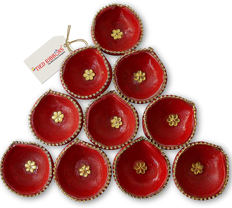 Diwali Diyas Set TIED RIBBONS Pure Brass Lotus Diyas Indian Puja Oil Lamps Akhand Diyas Pack of 10