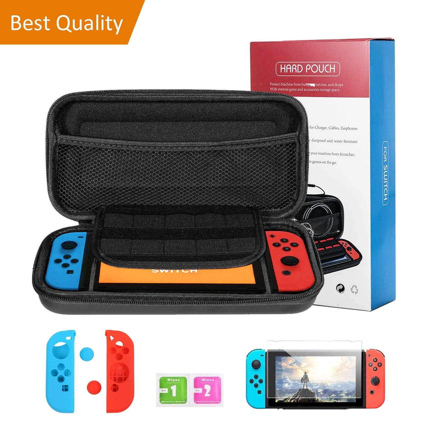 Carrying Case for Nintendo Switch, Protective Hard Shell for Game Console, Bundled with Tempered Glass Screen and Joy-Con Grip Covers.