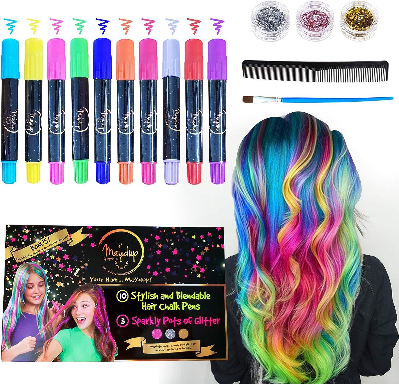 Juego de bolígrafos de tiza para el cabello y gel de purpurina. Ideal para fiestas y festivales.