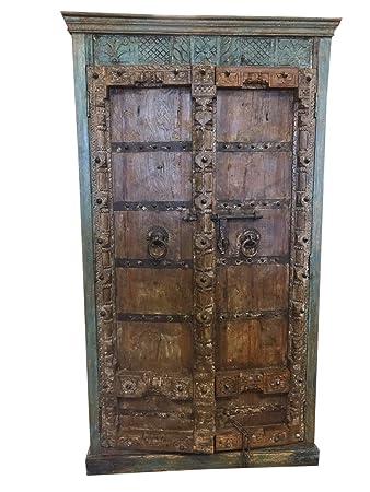 Exceptionnel Mogulinterior Antique Almirah Old Doors Rustic Furniture Distressed Wood  Iron Storage Cabinet Vintage Indian Armoire Mediterranean