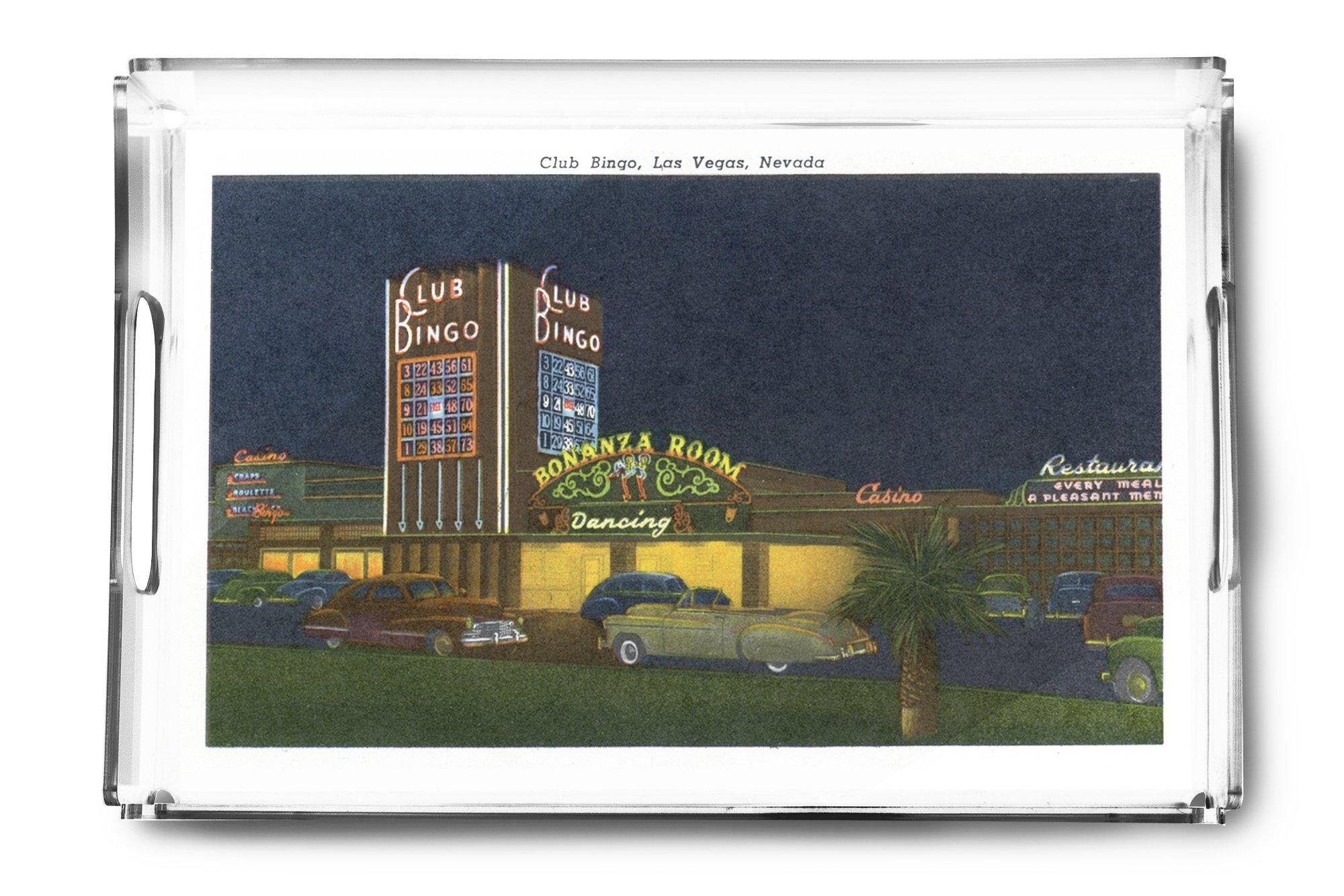 Las Vegas, Nevada - Exterior View of Club Bingo (Acrylic Serving Tray) by Lantern Press